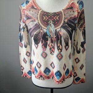 Beautiful GAZE tribal feather print top size XS